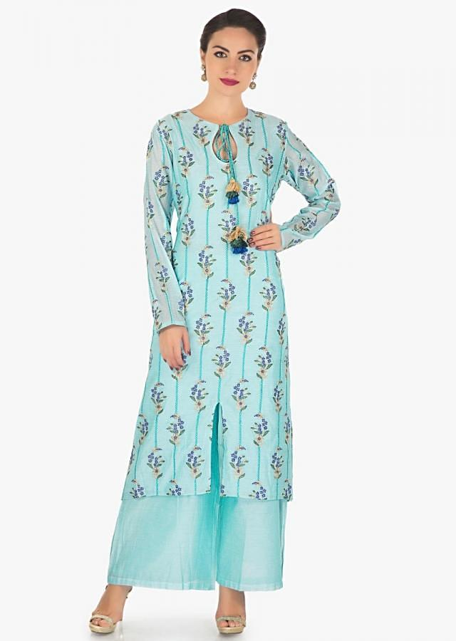 Sky blue straight palazzo suit in cotton silk with resham and zari work only on Kalki