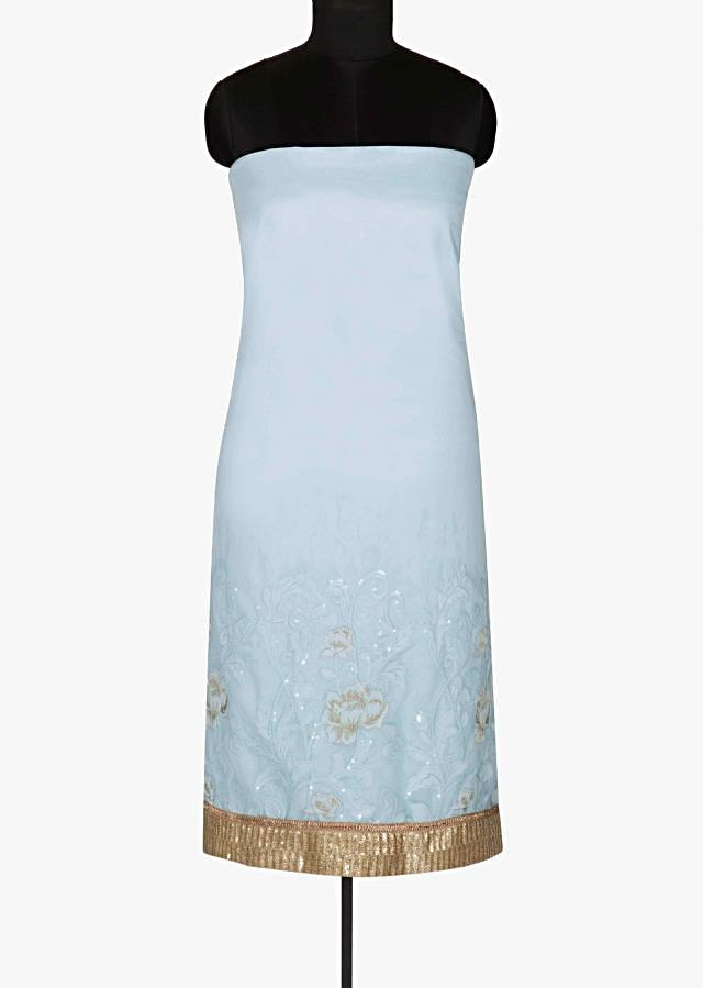 Sky blue unstitched suit featuring zari and sequin work only on Kalki