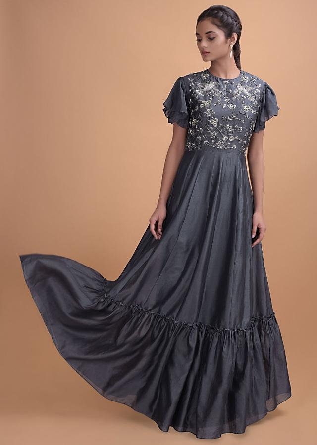 Slate Grey Anarkali Gown In Cotton Silk With Ruffle Sleeves And Tiered Hemline Online - Kalki Fashion