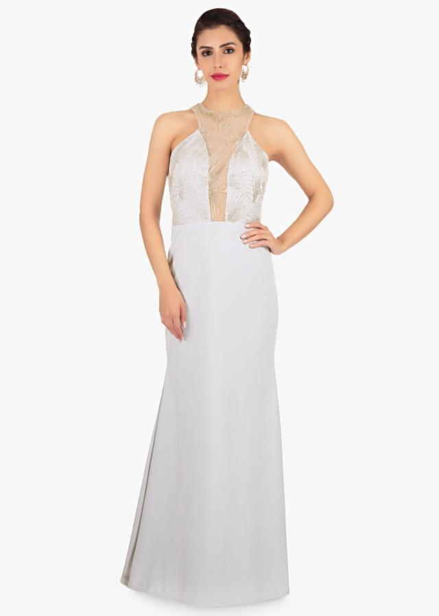 Smoke Grey Gown In Lycra With Trail At The Back Online - Kalki Fashion