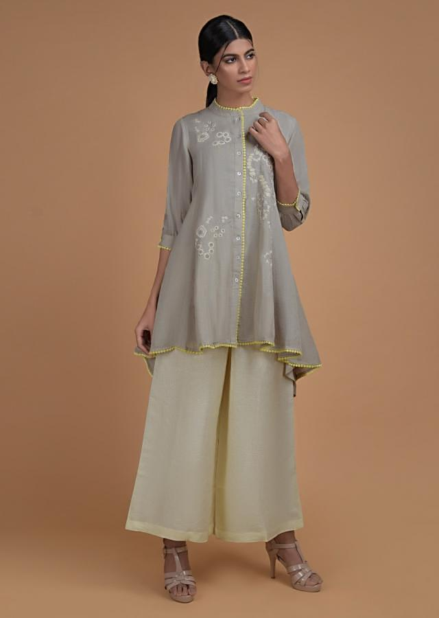 Smoke Grey Palazzo Suit In Linen With High Low Cut Top And Thread Embroidered Floral Pattern Online - Kalki Fashion