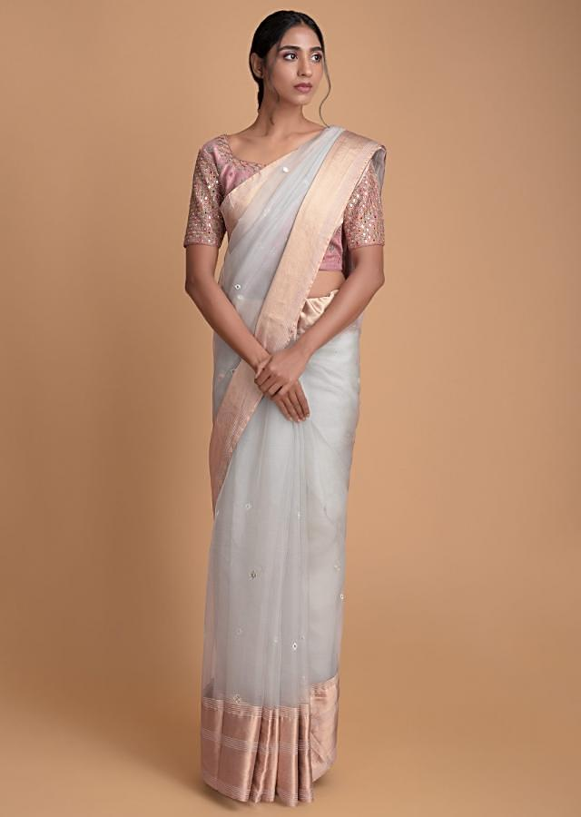 Smoke Grey Saree In Organza Silk With Abla And Gotta Work With A Dusty Pink Blouse Online - Kalki Fashion