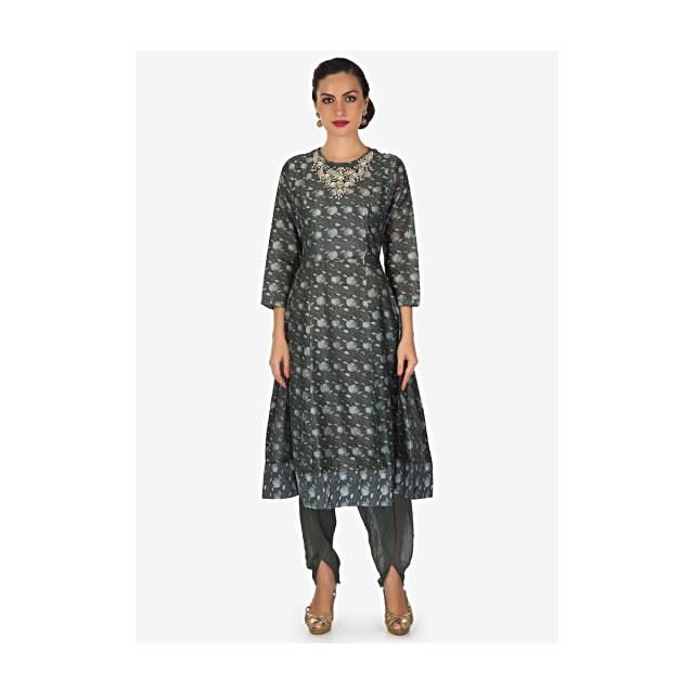 Smoke grey A line suit with embroidered neckline matched with overlapping pants only on Kalki