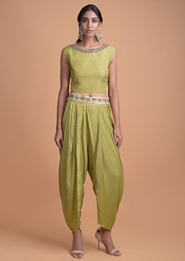 Chartreuse Green Cotton Silk Crop Top And Crepe Dhoti Pants With A Printed Long Jacket Online - Kalki Fashion