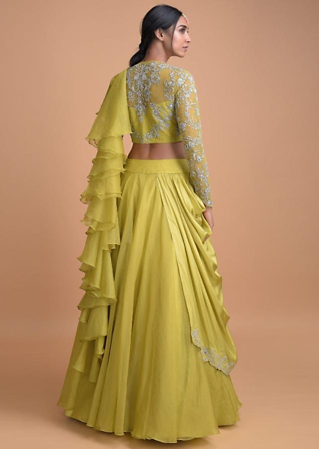 Chartreuse Green Lehenga With A Pre Stitched Ruffle Dupatta And Embellished Crop Top Online - Kalki Fashion