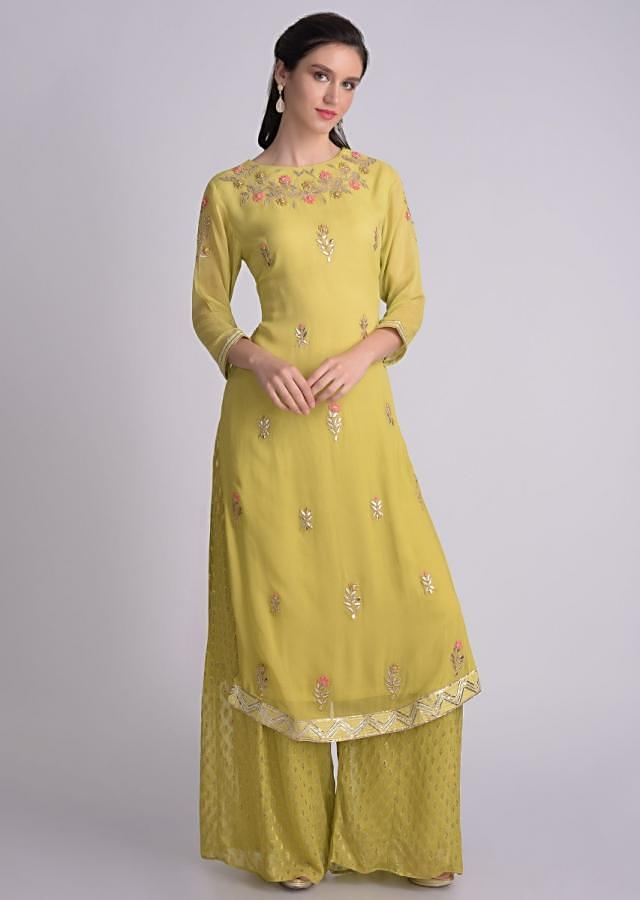 Chartreuse Green Palazzo Suit In Chiffon With Floral Embroidery Online - Kalki Fashion