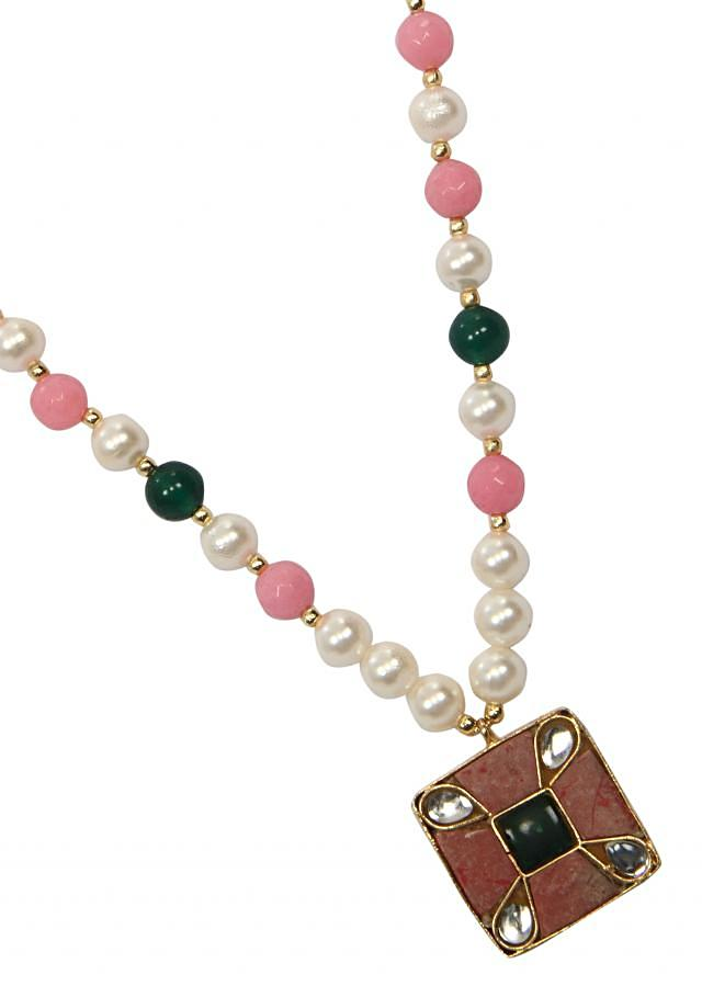 Soft peaches pink square locket with white green combination only on Kalki