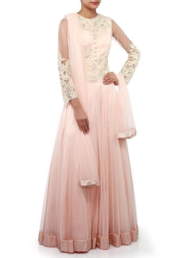 Soft pink anarkali suit adorn in lace embroidery only on Kalki