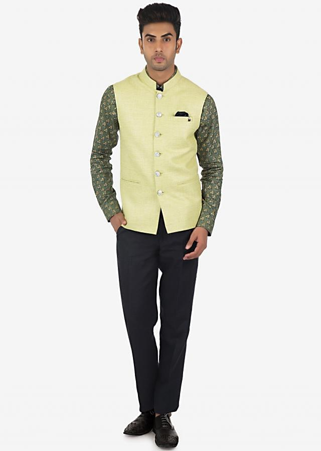 Solid Linen Pant and Shirt with Printed Fancy Fabric Vest Coat Set on Kalki