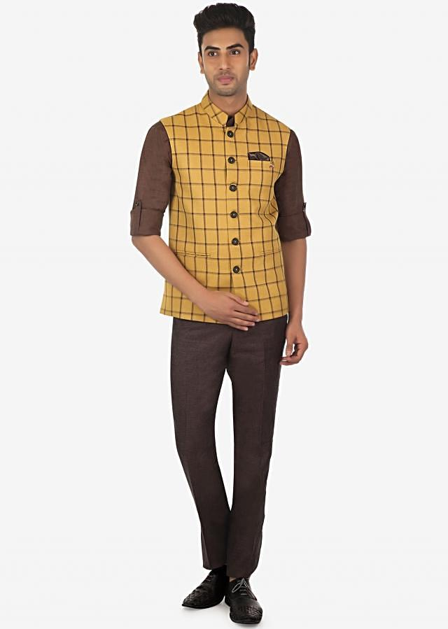 Solid Linen Shirt, Pant and Checked Fancy Fabric Vest Coat Set on Kalki