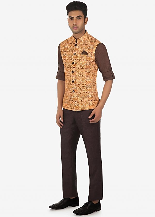 Solid Linen Shirt, Pant and Printed Fancy Fabric Vest Coat Set on Kalki