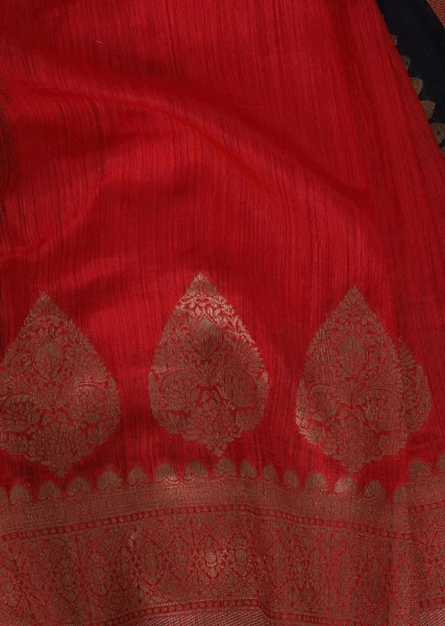 Space Blue And Persian Red Half And Half Banarasi Saree With Floral Buttis Online - Kalki Fashion