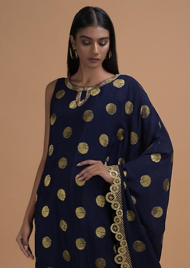 Space Blue Kaftan Tunic In Silk With Brocade Weaved Buttis Online - Kalki Fashion