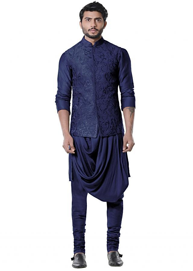Space Blue Cowl Kurta with Full Embroidered Grey Waist Coat set.