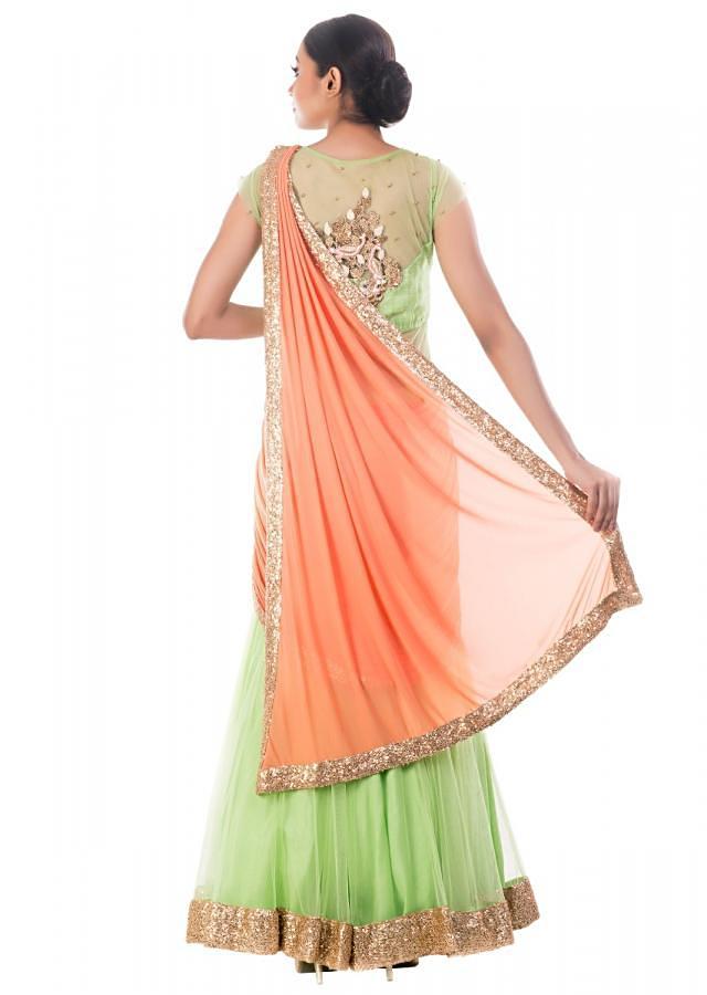 Spring Green Gown Saree With Tangerine Palla Online - Kalki Fashion