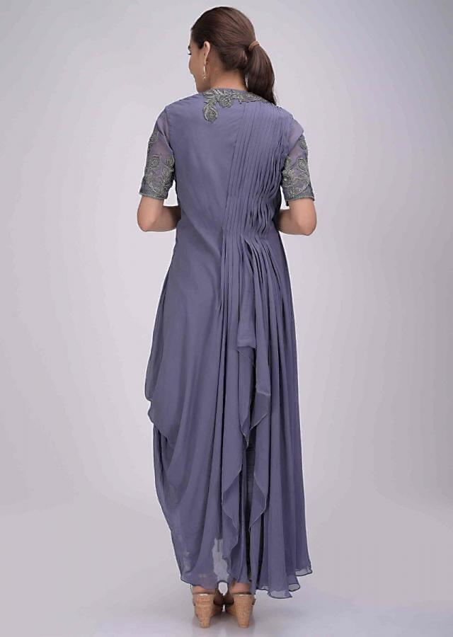 Spruce blue chiffon suit with fancy cowl drape only on Kalki