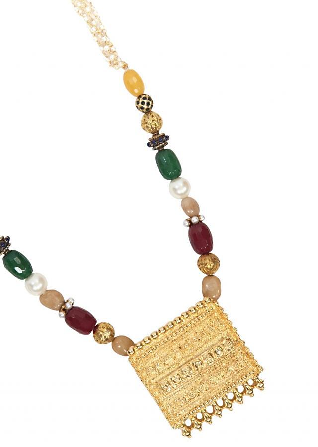 Square traditional locket with colored beads and ganthan only on Kalki