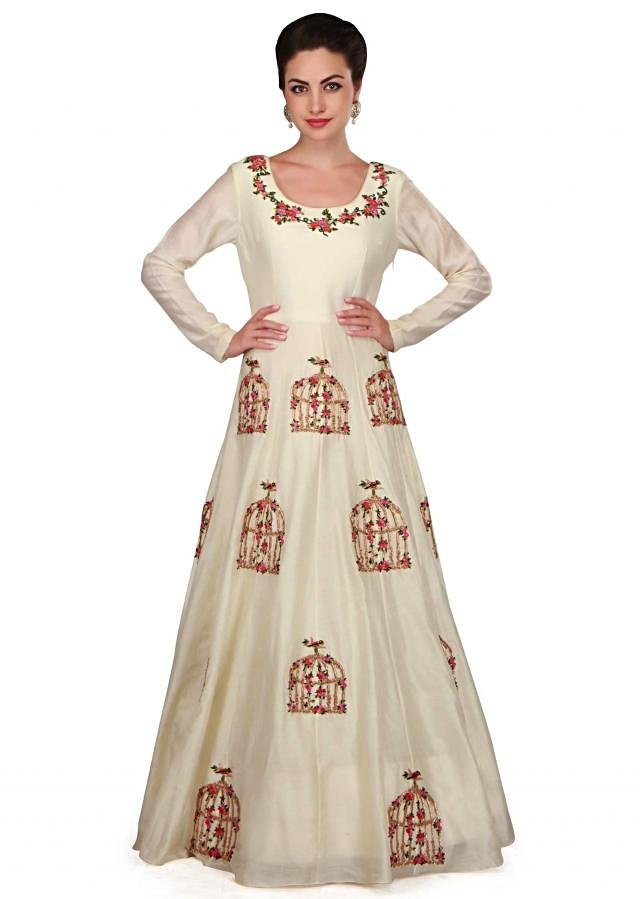 Star white anarkali suit in cage and bird motif work only on Kalki