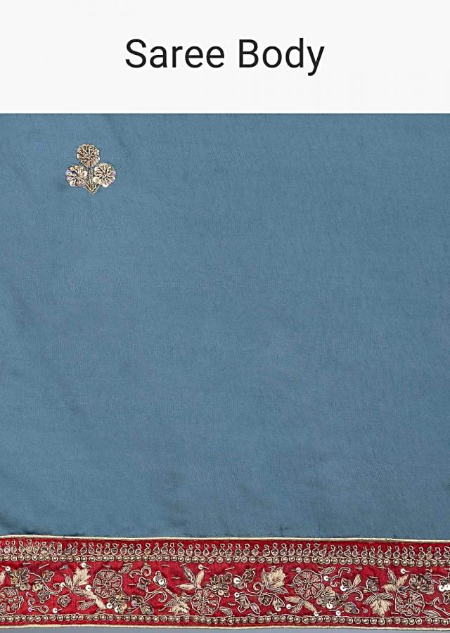Steel blue cotton silk blue saree with embroidered butti and border only on Kalki