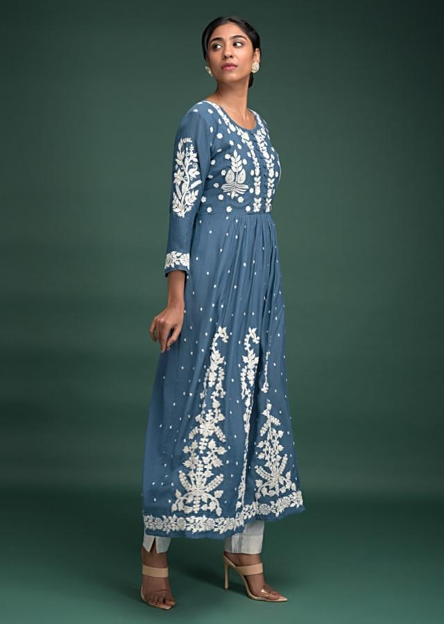 Steel Blue Tunic In Cotton With Thread Embroidered Floral Pattern And Buttis Online - Kalki Fashion