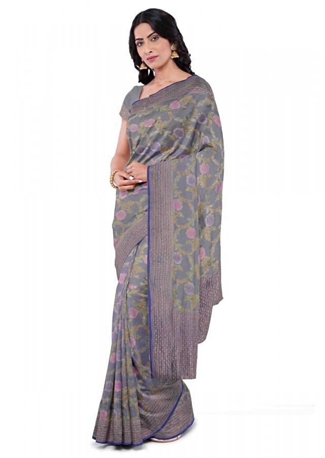 Steel Grey Banarasi Saree In Chiffon With Floral Jaal Pattern Online - Kalki Fashion
