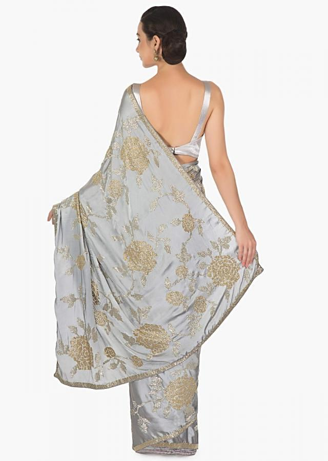 Steel Grey Satin Saree with Cut Dana and Pleated Blouse Only on Kalki