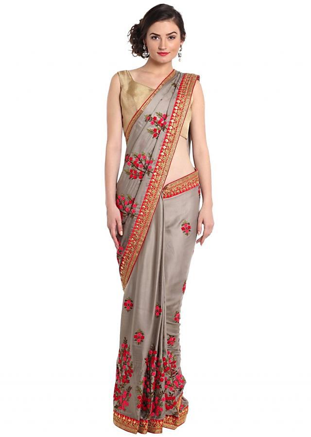 Steeple grey saree in wool thread embroidery only on Kalki