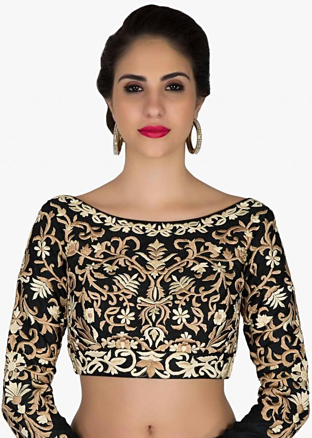 Stitched Black Silk Blouse Adorned with Resham Embroidery only on Kalki