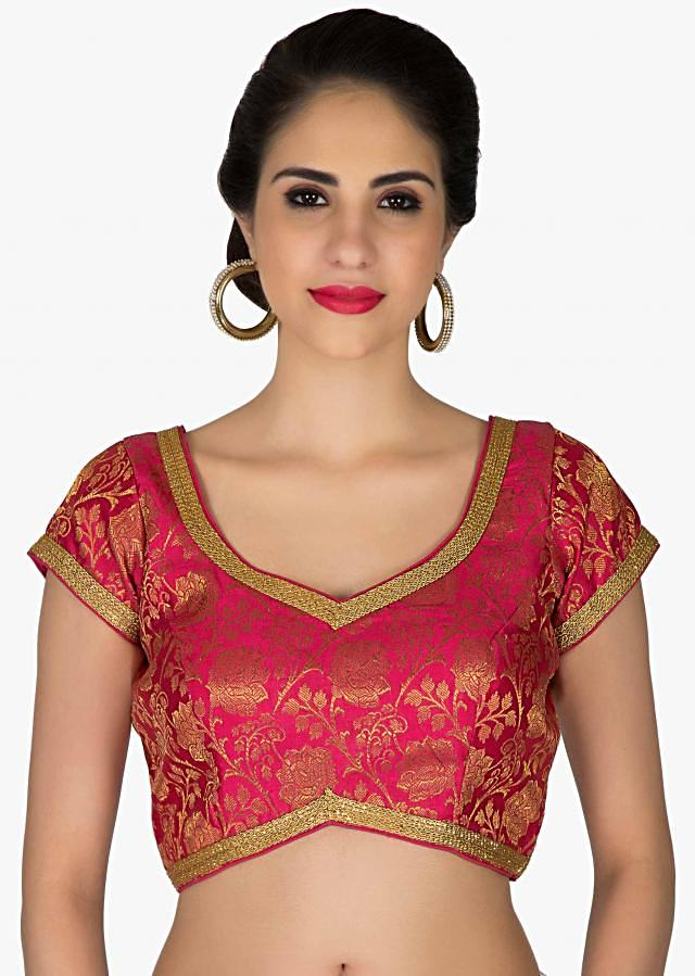 Stitched Fuchsia Blouse Featuring Brocade Work only on Kalki