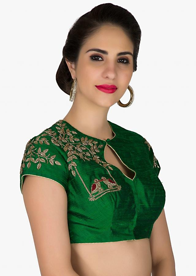 Stitched Green Silk Blouse with Bird Motifs in Zardosi only on Kalki