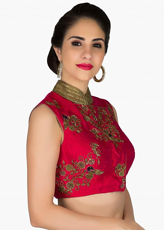 Stitched Maroon Silk Blouse Featuring Bird and Floral Motifs in Zari only on Kalki