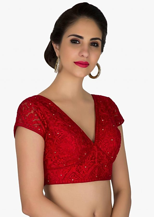 Stitched Red Embroidered Net Blouse only on Kalki