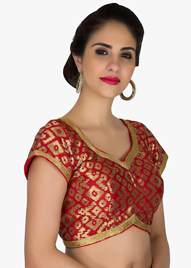 Stitched Red Silk Brocade Blouse Featuring Ikat Patterns only on Kalki