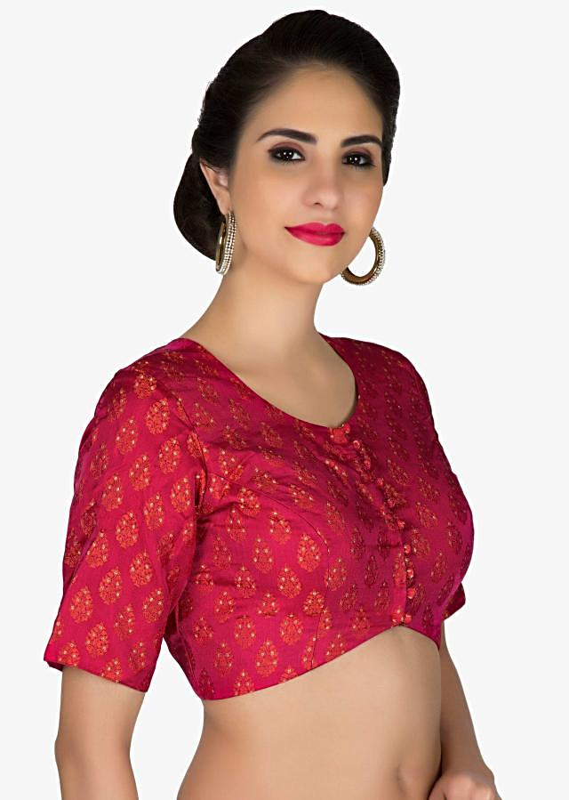 Stitched Red Silk Brocade Blouse only on Kalki