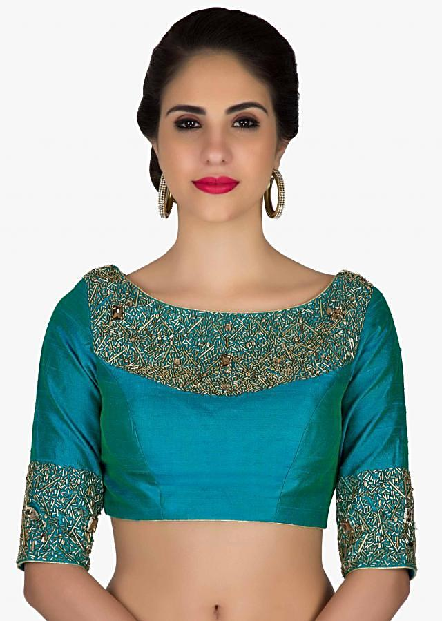 Stitched Teal Blue silk Blouse Crafted with Zardosi Work only on Kalki