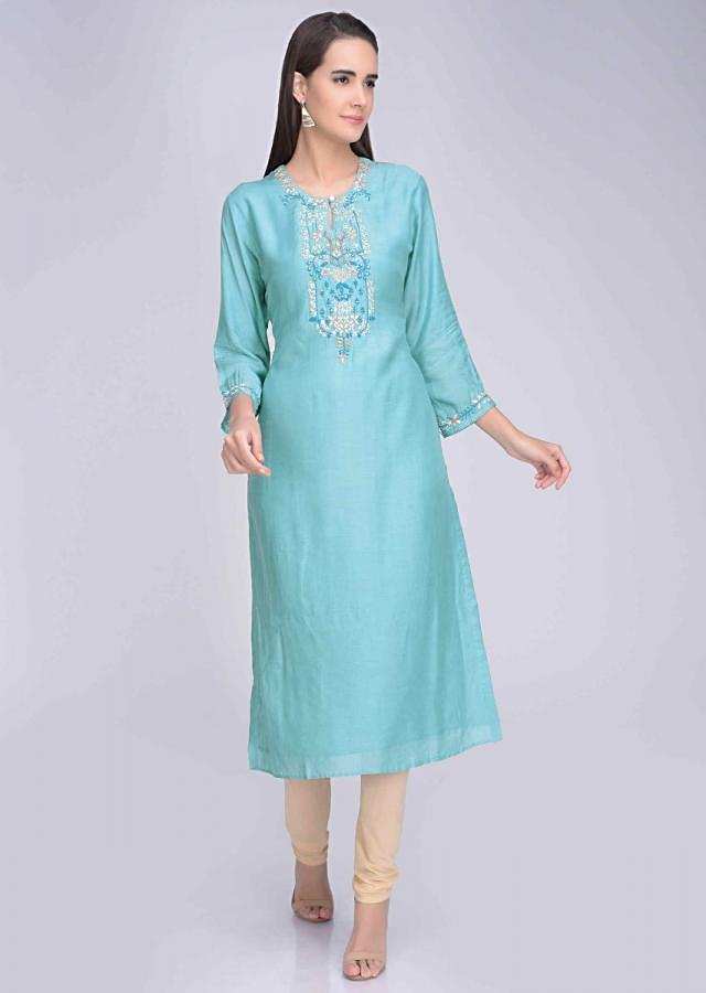 Stone Blue Kurta In Embroidered Crepe Online - Kalki Fashion