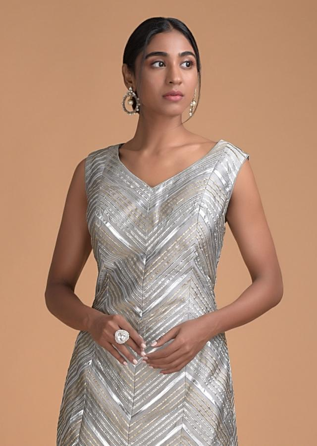 Stone Grey Straight Dhoti Suit in Cotton Silk With Gotta Lace And Applique Work Online - Kalki Fashion