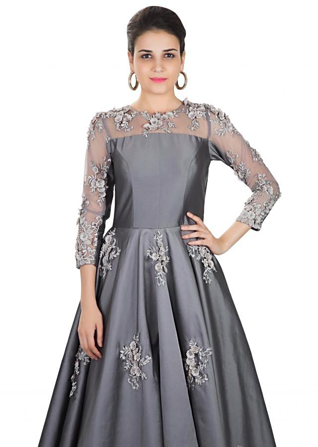 Stone Grey Taffeta and Net Gown Featuring Thread Embroidery, Sequins and 3D Flowers