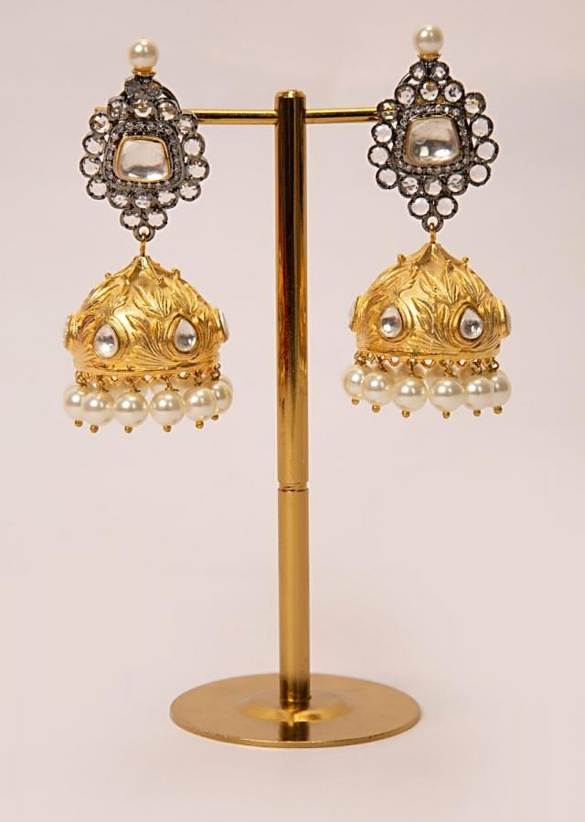 Stone studded earring with golden jhumkas drop
