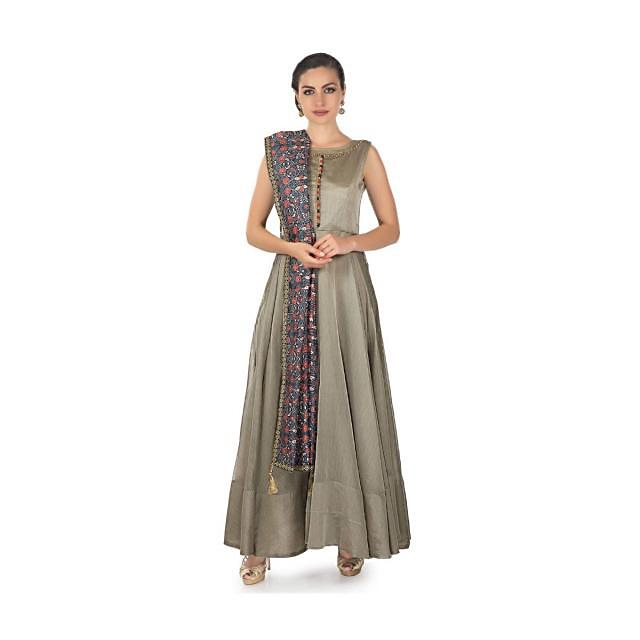Stone grey anarkali suit matched with printed dupatta only on Kalki