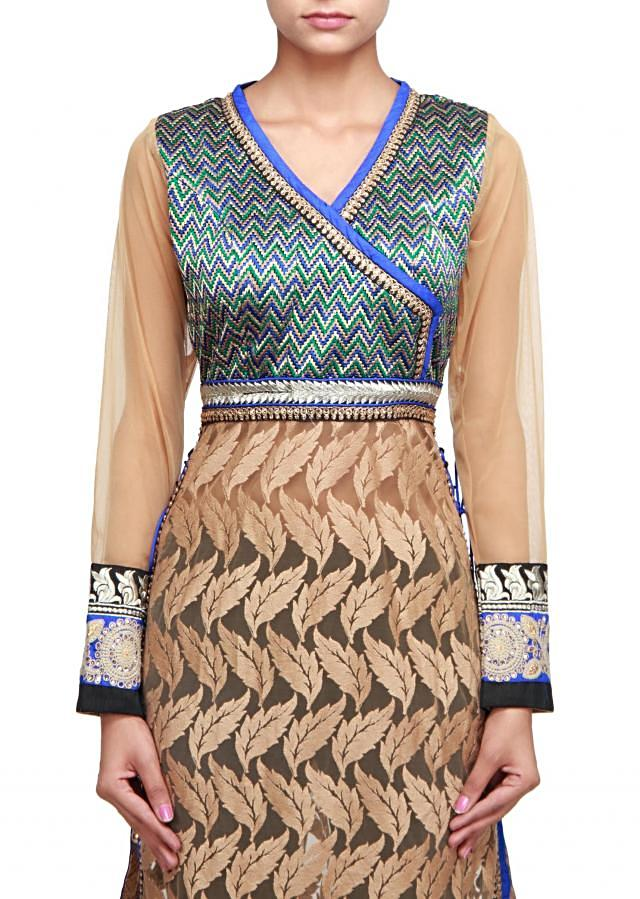 Straight fit suit featuring in beige with resham embroidery only on Kalki