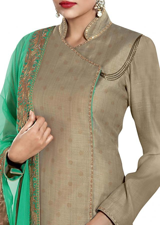 Straight fit suit featuring in embellished dupatta