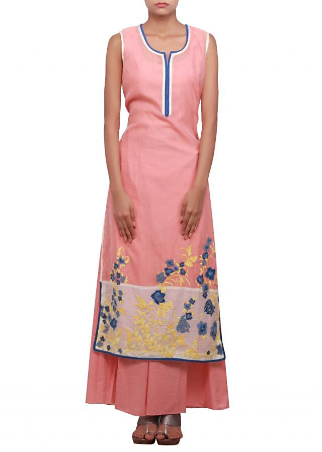 Straight fit suit featuring in peach is embellished in resham only on Kalki