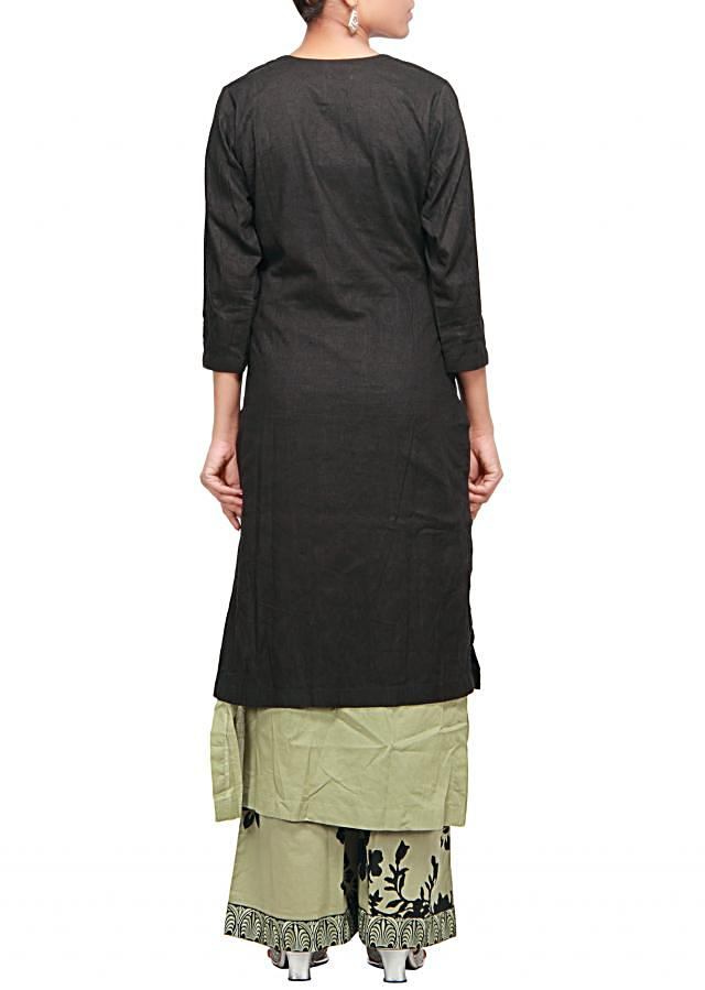 Straight fit suit in black featuring with printed palazzo pant only on Kalki