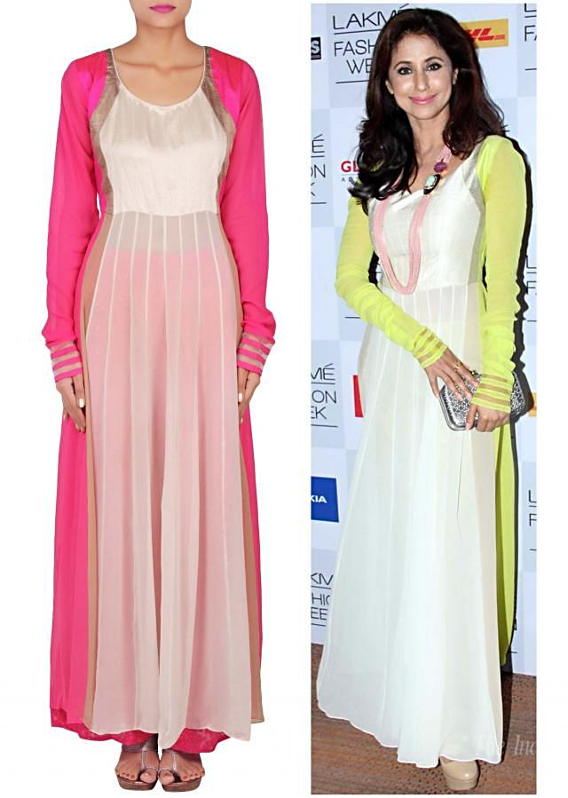 Straight fit suit in cream matched with palazzo pants only on Kalki