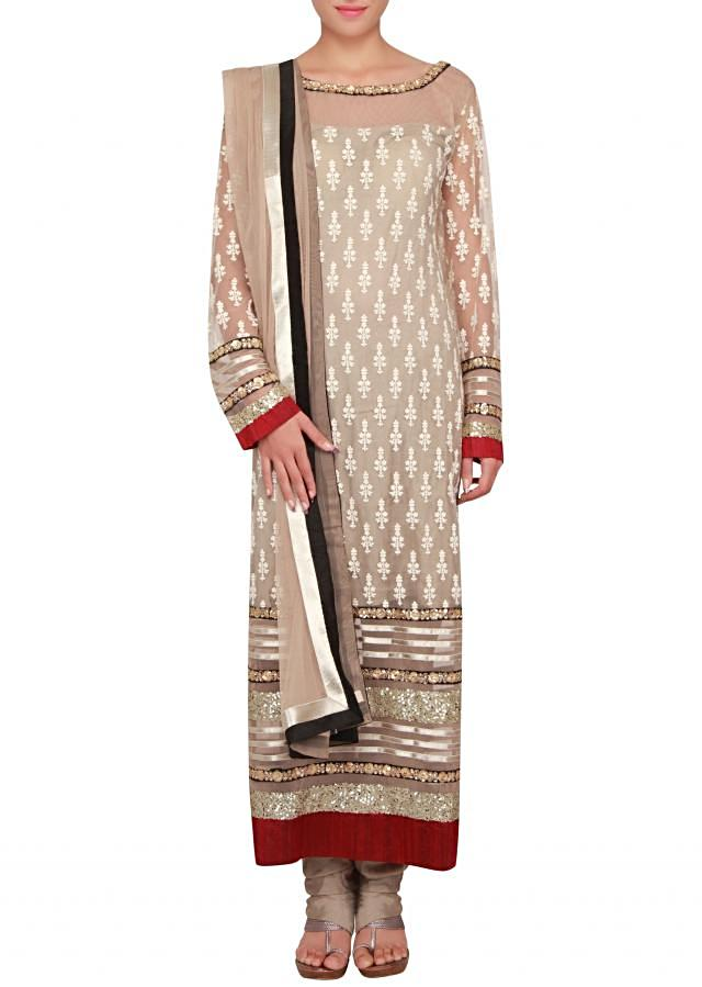 Straight fit suit in light brown embellished in thread and sequence only on Kalki