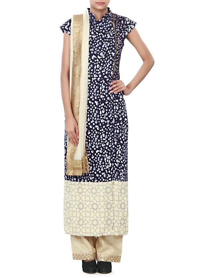 Straight suit featuring in navy blue printed cotton only on Kalki