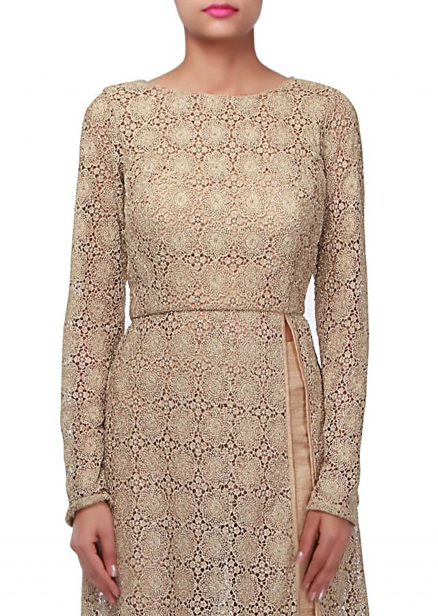 Straight suit in gold croquet lace only on Kalki