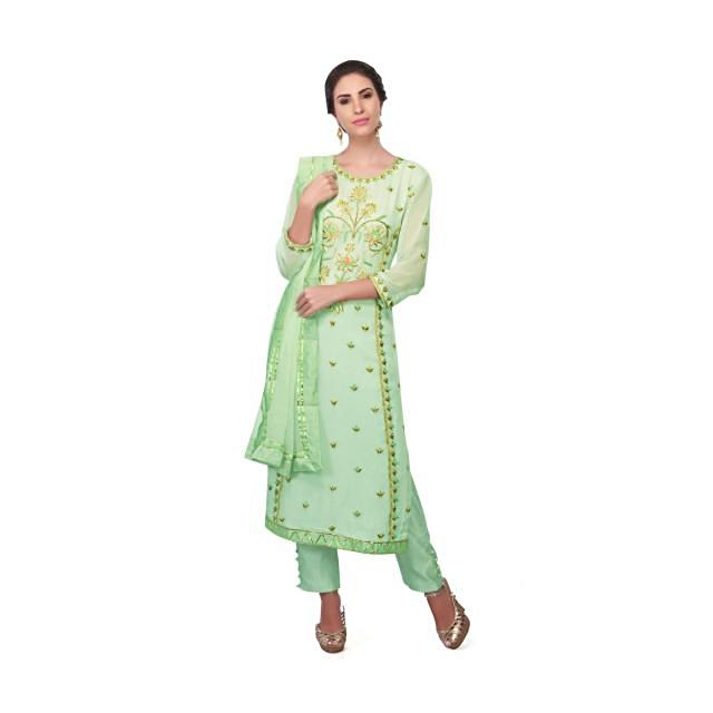 Straight suit in Sea green georgette with resham embroidery only on Kalki