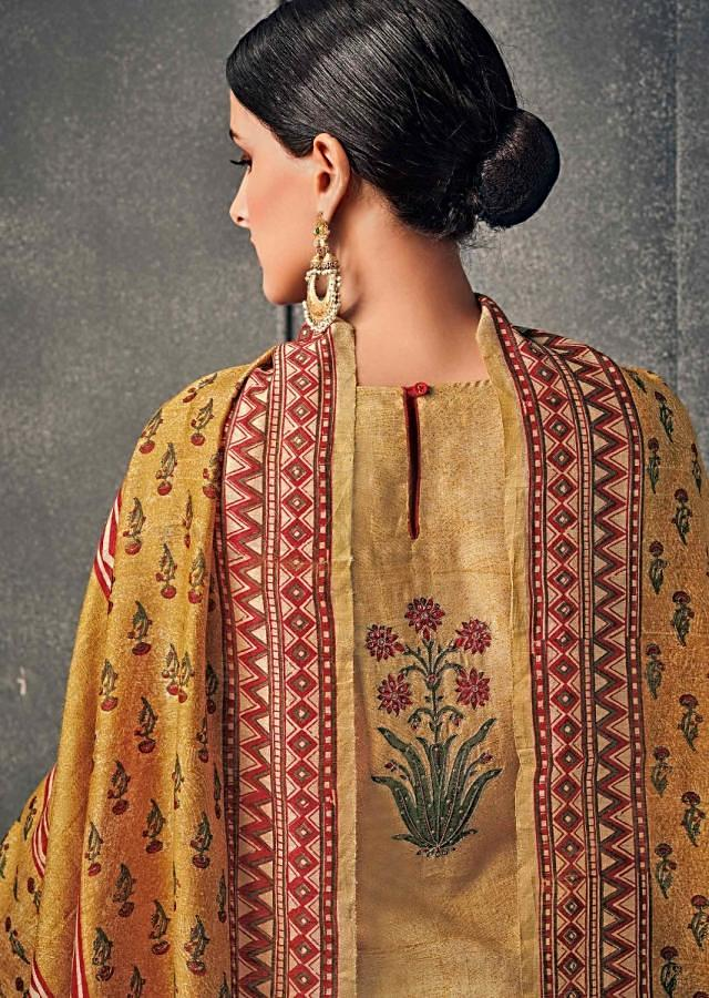 Mustard And Rust Straight Suit With Floral Printed Panel Online - Kalki Fashion